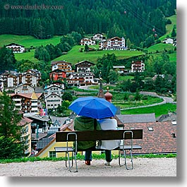 alto adige, couples, dolomites, europe, italy, square format, st ulrich, umbrellas, photograph