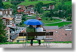alto adige, couples, dolomites, europe, horizontal, italy, st ulrich, umbrellas, photograph