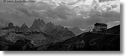 alto adige, auronzo, black and white, dolomites, europe, horizontal, huts, italy, panoramic, tre cime di lavaredo, photograph