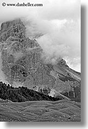 alto adige, black and white, dolomites, europe, italy, orsolina, val orsolina, valley, vertical, photograph