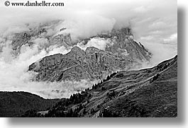 alto adige, black and white, dolomites, europe, horizontal, italy, orsolina, val orsolina, valley, photograph