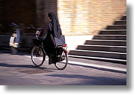 bicycles, europe, horizontal, italy, nuns, people, po river valley, valley, photograph