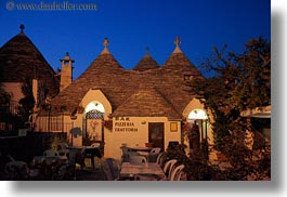 alberobello, buildings, europe, horizontal, italy, nite, pizzeria, puglia, structures, towns, trullis, photograph