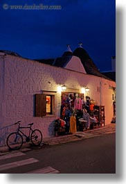 alberobello, buildings, europe, italy, nite, puglia, stores, structures, towns, trullis, vertical, photograph