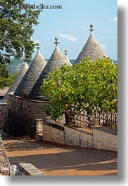 alberobello, among, buildings, europe, italy, puglia, structures, trees, trullis, vertical, photograph