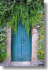 alberobello, blues, doors, europe, italy, ivy, long, puglia, vertical, photograph