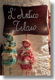 alberobello, dolls, europe, italy, puglia, vertical, walls, photograph