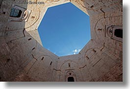 andria, castel del monte, castles, courtyard, europe, horizontal, italy, perspective, puglia, sky, upview, views, photograph