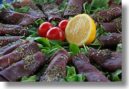 europe, foods, horizontal, italy, lemon, meats, puglia, sliced, tomatoes, photograph