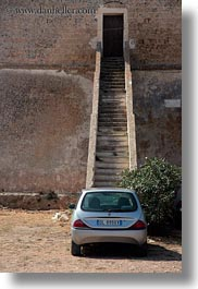 bottom, cars, europe, gallipoli, italy, puglia, stairs, vertical, photograph