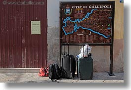 europe, gallipoli, horizontal, italy, luggage, map, puglia, towns, photograph