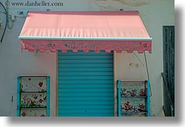 awnings, blues, doors, europe, gallipoli, horizontal, italy, pink, puglia, photograph