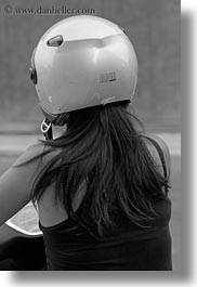 black and white, europe, gallipoli, helmets, italy, motorcycles, people, puglia, transportation, vertical, womens, photograph