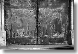 black and white, carvings, churches, copper, doors, europe, horizontal, italy, lecce, puglia, photograph