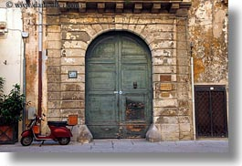 doors, europe, green, horizontal, italy, lecce, moped, puglia, red, photograph