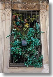 barred, europe, italy, lecce, plants, puglia, silk, vertical, windows, photograph