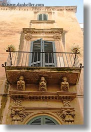 balconies, europe, italy, lecce, puglia, upview, vertical, windows, photograph