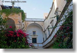 archways, balconies, bougainvilleas, europe, horizontal, italy, lecce, puglia, photograph