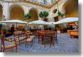 chairs, courtyard, europe, horizontal, italy, lecce, puglia, tables, photograph