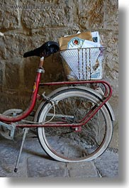baskets, bicycles, europe, italy, lecce, mail, puglia, slow exposure, vertical, photograph