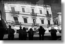 abstracts, arts, black and white, buildings, europe, horizontal, italy, lecce, people, puglia, refection, reflections, silhouettes, photograph