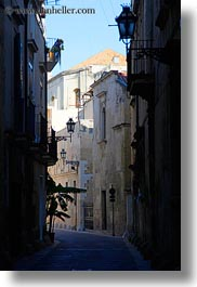 empty, europe, italy, lamp posts, lecce, puglia, streets, vertical, photograph