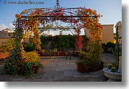 europe, flowers, gazeebo, horizontal, italy, laden, lecce, patria palace hotel, puglia, photograph
