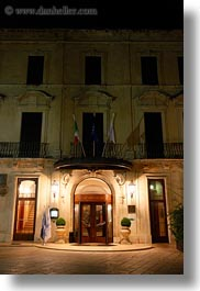 europe, facades, hotels, italy, lecce, nite, patria palace hotel, puglia, vertical, photograph