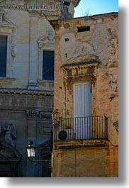 balconies, europe, italy, lamp posts, lecce, lights, puglia, street lamps, vertical, photograph