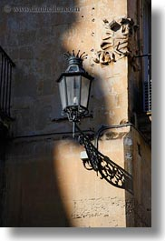 europe, italy, lamp posts, lecce, lights, puglia, shadows, street lamps, vertical, photograph
