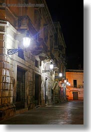 europe, glow, italy, lamp posts, lecce, lights, nite, puglia, street lamps, vertical, photograph