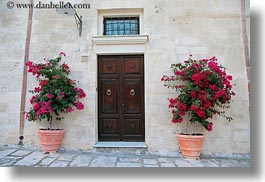 bougainvilleas, doors, europe, flowers, horizontal, italy, matera, nature, plants, puglia, red, photograph