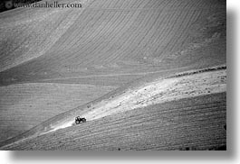 black and white, europe, hills, horizontal, italy, matera, puglia, scenics, tractor, photograph