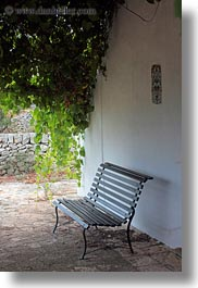 artifacts, benches, europe, italy, ivy, masseria murgia albanese, noci, puglia, vertical, photograph