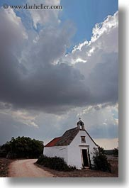 churches, clouds, europe, italy, masseria murgia albanese, noci, puglia, small, vertical, photograph