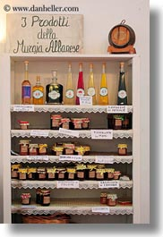 europe, foods, italy, jams, jellies, masseria murgia albanese, noci, puglia, shelves, vertical, photograph