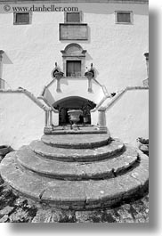 black and white, europe, fronts, houses, italy, masseria murgia albanese, noci, puglia, stairs, vertical, photograph