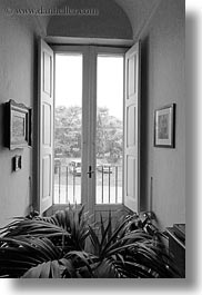 black and white, europe, houses, interiors, italy, masseria murgia albanese, noci, puglia, vertical, windows, photograph