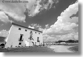 black and white, clouds, europe, horizontal, houses, italy, main, masseria murgia albanese, noci, puglia, photograph