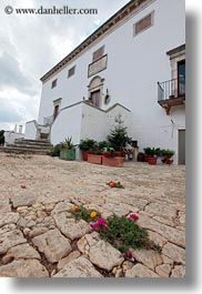 europe, flowers, houses, italy, main, masseria murgia albanese, noci, puglia, vertical, photograph