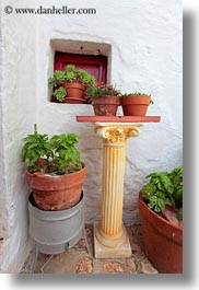 europe, flowers, italy, masseria murgia albanese, noci, plants, pots, puglia, vertical, photograph