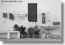 black and white, europe, horizontal, italy, laundry, masseria murgia albanese, noci, plants, puglia, photograph