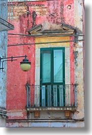 balconies, doors, europe, italy, lamp posts, noci, puglia, vertical, photograph