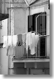 black and white, europe, hangings, italy, laundry, noci, puglia, vertical, photograph