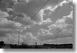 black and white, clouds, europe, horizontal, italy, noci, puglia, telephones, trees, wires, photograph