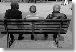benches, black and white, europe, horizontal, italy, men, noci, old, people, puglia, sitting, photograph