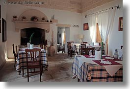 bandino masseria, dining, europe, fireplace, horizontal, italy, otranto, puglia, rooms, tables, photograph
