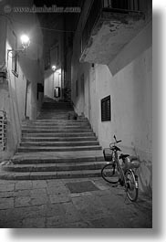 bicycles, bikes, black and white, europe, italy, nite, otranto, puglia, stairs, vertical, photograph