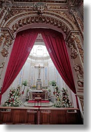 altar, churches, curtains, europe, italy, otranto, puglia, red, vertical, photograph