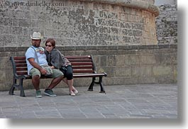 benches, europe, horizontal, italy, lovers, otranto, people, puglia, photograph